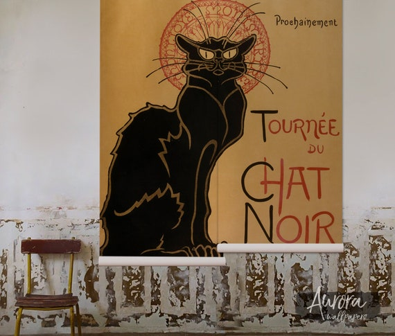 Chat Noir Removable Wallpaper Art Wall Decor Vintage Wall Mural Peel And Stick Reusable Repositionable Temporary Wallpaper 57