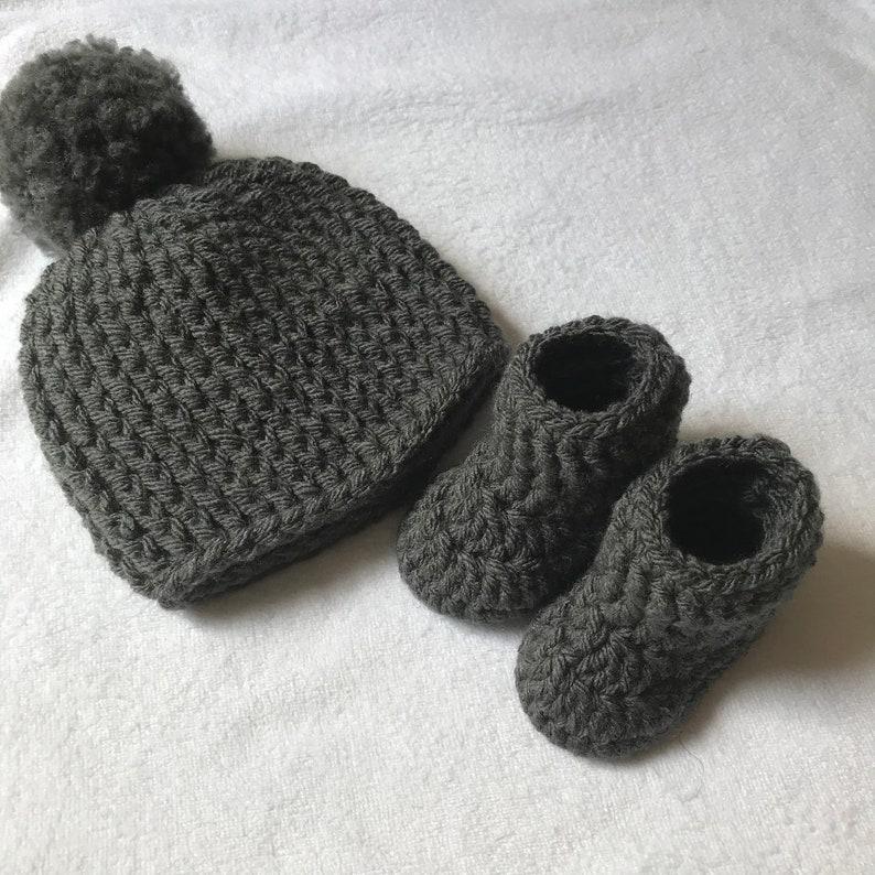 Grey Pom Pom Hat Booties Set Newborn Gift Baby Shower Etsy