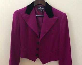 RALPH LAUREN - Purple Label - Cropped Blazer in Magenta