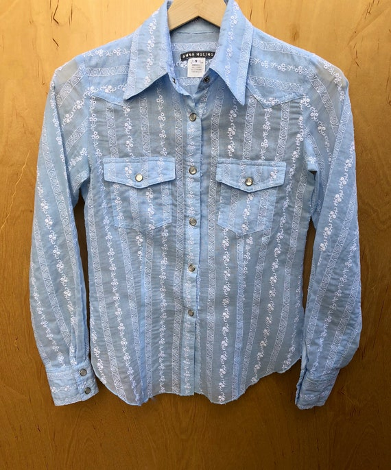 Anna Huling Baby Blue Shirt. Designer Brand Cowgir