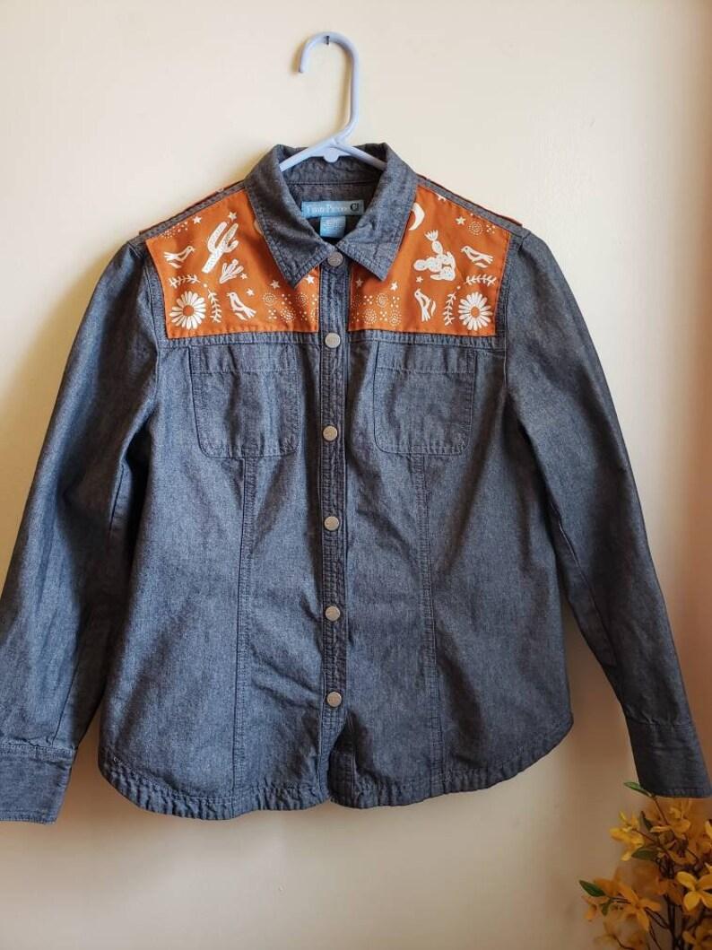 cowgirl Size 10 denim shirt cactus OOAK embellished denim shirt bandana print jean shirt