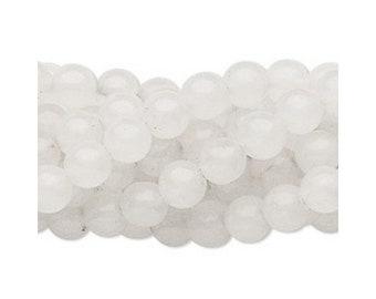 Natural white snow quartz gemstone round 6mm full strand 4062GS