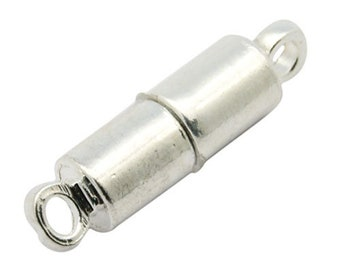 Packet 4 x Silver Tone Plated Brass Tube Magnetic Clasps 6 x 16mm HA11500