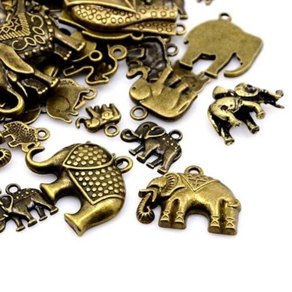 Elephant Charm//Pendant Tibetan Antique Bronze 5-40mm  30 Grams Accessory Crafts