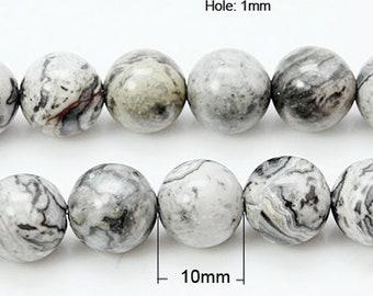 Strand 38+ Grey/Black Scenery Jasper 10mm Plain Round Beads HA05105