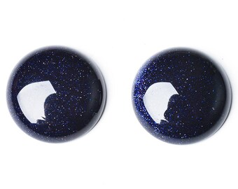 Packet 6 x Blue Goldstone Flat Back 8mm Coin 4mm Thick Cabochon CA16687-1