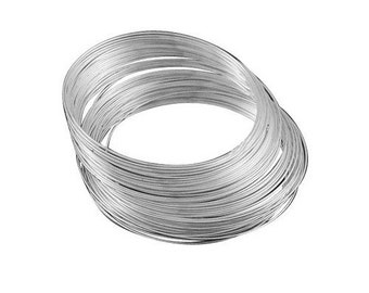 20 x Silver Steel Round Memory Wire Loops 1.0mm x 11.5cm HA12375