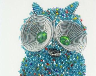 Handmade Beaded Owl sculpture