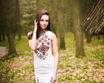 Embroidered Midi White Dress for Women. Vyshyvanka. Ukrainian Embroidered dress.Best girls dresses