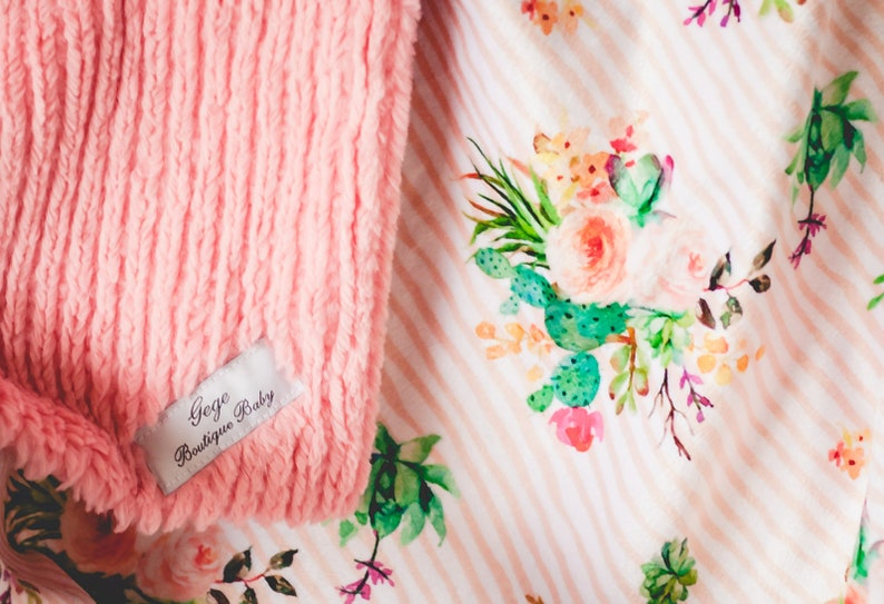 Coral snuggle baby blanket Floral Minky Stripe Blanket chenille Minky bright