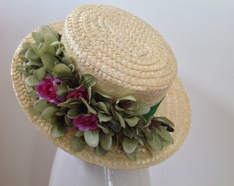 Elegant hat with Green Ribbon, pink roses and green flowers