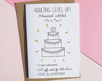 Wedding card adult etsy adulting wedding card funny wedding card mr mrs card wedding card congratulation card card for newlyweds wedding cake card m4hsunfo