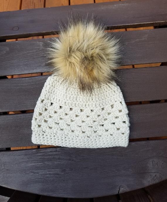 8070517a1 Crochet beanie w/Faux Fur pom pom/ Winter Hat/ Pom Pom/ Shell Stitch Adult  Beanie.