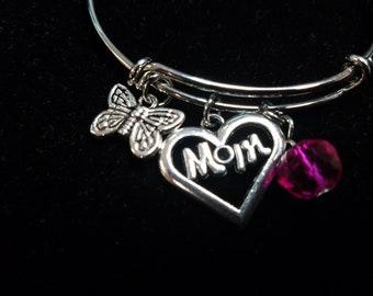 Mom Bracelet / Charm Bangle Bracelet / Butterfly Bracelet