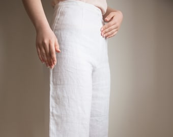 Womens White High Waist Cropped Culottes wide leg Trousers