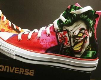 db82e7b7e716 Custom airbrush Joker Harley Quinn Converse