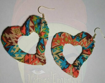 Multicolored  heart shape dangle hoop earrings