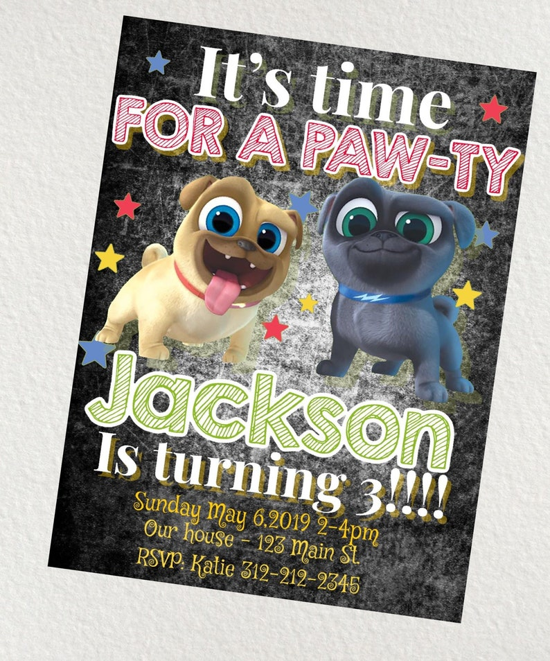 PRINTED Puppy Dog Pals Birthday Invitation Free Shipping