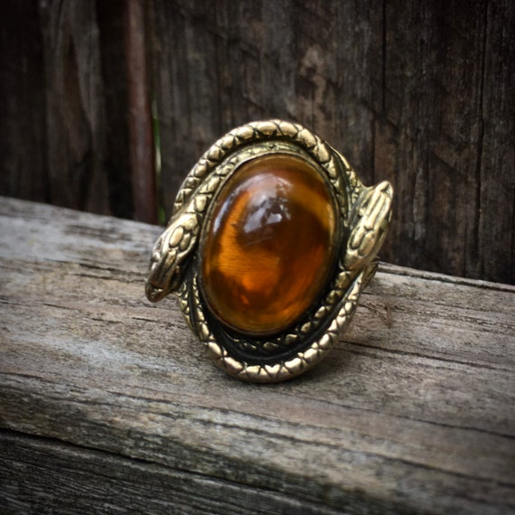 Art Deco Double Serpent Czech Amber Glass Cabochon