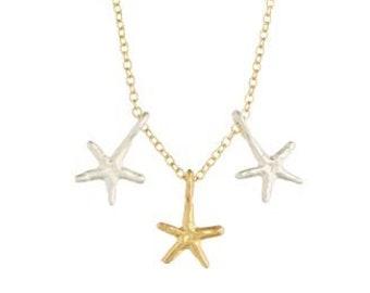 Two Tone Starfish Trio Necklace
