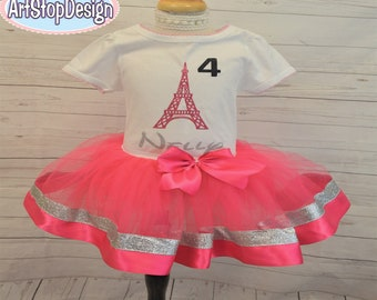 Paris birthday outfit,FREE SHIPPING,paris eiffel tower,paris birthday tutu,eiffel tower tutu,eiffel tower outfit,birthday girl,birthday tutu