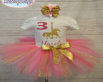 Carousel pony birthday outfit,FREE SHPPING,pony outfit,pony birthday,carousel birthday,carousel horse,carousel pony tutu,birthday girl