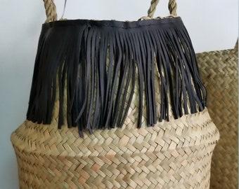 Seagrass basket  bag fringe Small_BLACK