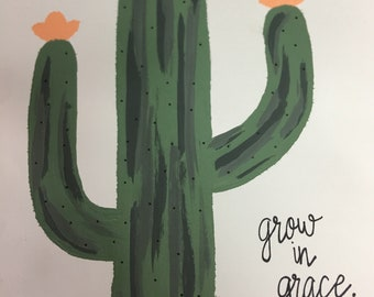 Grow in grace 8x10 acrylic painting on white cardstock