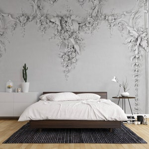 Wall Art,Wall Sticker,Jess Art 58 3D Classic interior wall with cornice and moldings Mural Removable Wallpaper,Peel /& stick Wall Mural