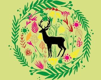 Flowers around a deer, deer, flowers, print, poster