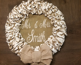"18"" Beige Personalized Embroidery Wreaths"