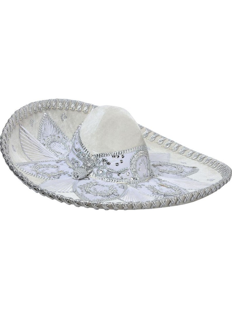0724d5a3fa0a1 Sombrero Charro Ivory  Silver