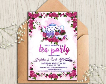 floral tea party invitation tea party invitetea party birthday invitationtea party supplies tea party idea birthday