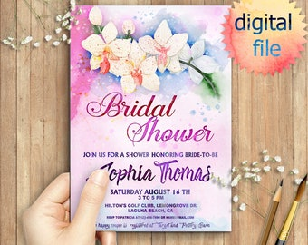 Soft Tropical Orchids Floral Bridal Wedding Shower Invitation; Watercolor, Printable,