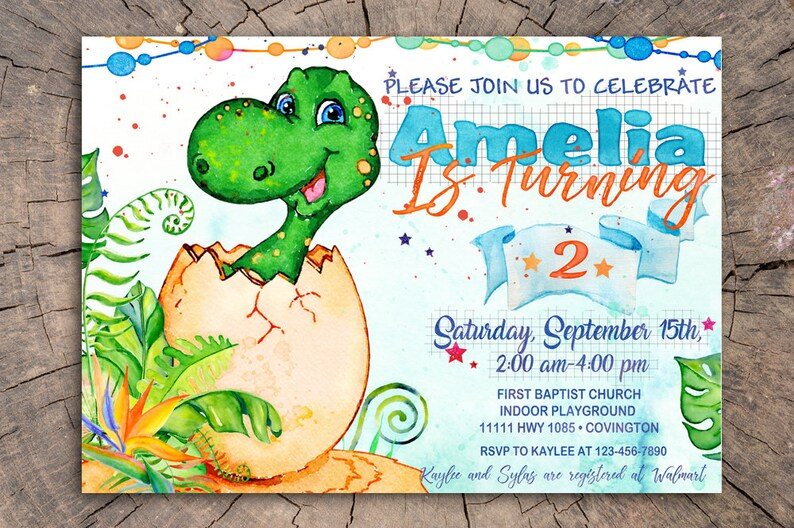 Dinosaur Invitation Birthday Invites Party Printable