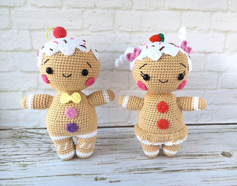 DIY Crochet Kit to make Gingerbread couple boy and girl  Amigurumi set materials  Crocheter and crafter Gift