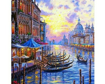 Painting by Number, Venice, Sunset DiY Painting kit, DiY Painting on Canvas, Wall Picture Frame Set, Gift, Seascape Wall Picture