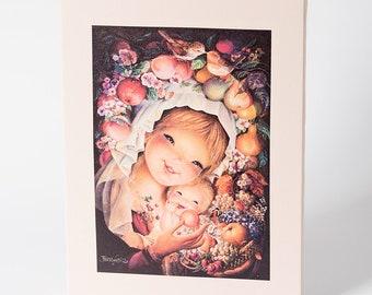 Fruits Virgin. Canvas print mounted in frame. Reproduction numbered of Juan Ferrandiz's work