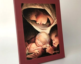 Color Virgin. Canvas print mounted in frame. Reproduction numbered of Juan Ferrandiz's work