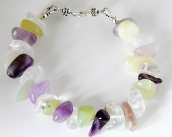 Colours of Spring..... A Gorgeous Chunky Bracelet with Clear Quartz, Amethyst & New Jade