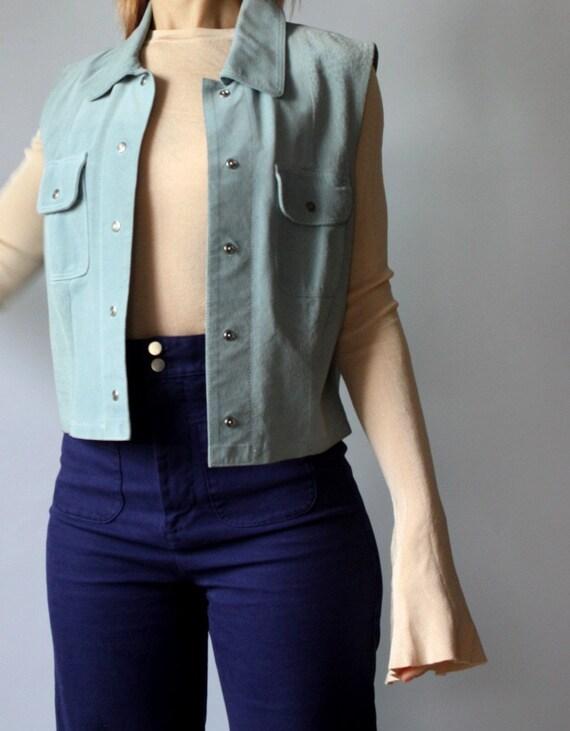 Vintage 90s Leather Pastel Blue Vest / Real Suede