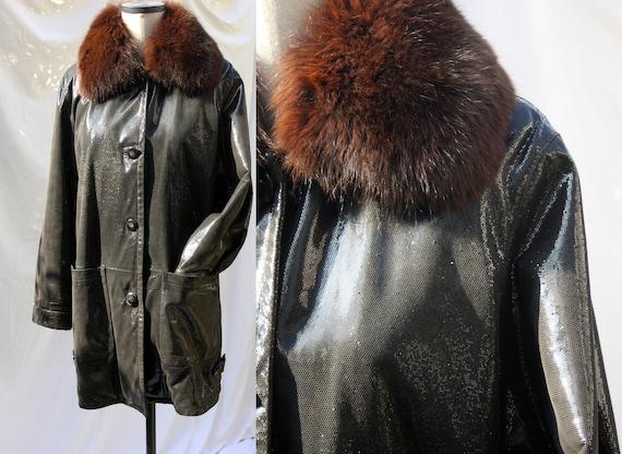 Vintage real leather vinyl coat / Black glossy coa