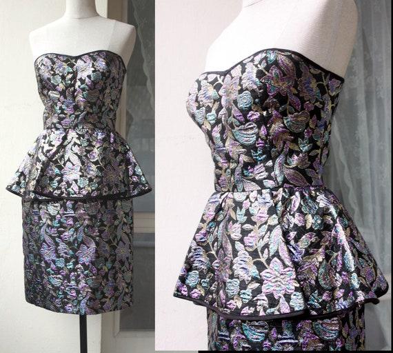 80s Vintage Evening Gown/Party Peplum Midi Dress /