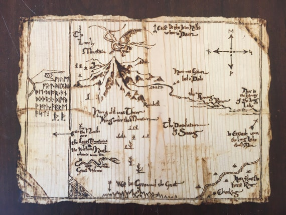 Map of Middle Earth From The Hobbit Wood-burn Pyrography Art