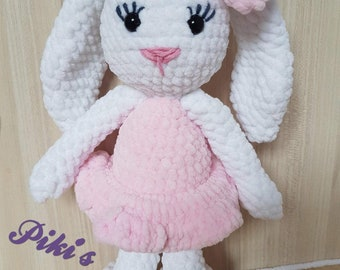 A lovely bunny rabbit with a dress,amigurumi,crochet doll,plushed bunny,first toy,best baby present