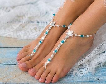 Something blue Starfish Barefoot sandals, Beach wedding barefoot sandals, Pearl and rhinestone footless sandals, barefoot jewelry