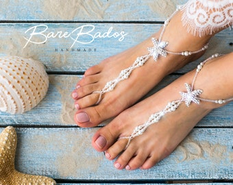Starfish Barefoot sandals wedding, Beach wedding barefoot sandals, Pearl and rhinestone footless sandals, barefoot jewelry, wedding shoes