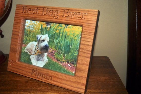 Best Dog Ever Hardwood Carved Picture Frame With Dogs Etsy
