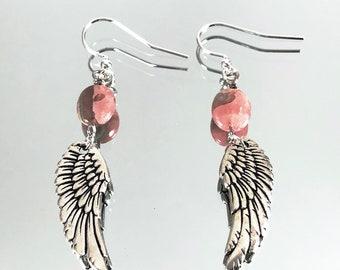 Large Rhodochrosite Angel Wing Earrings