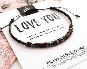 0112c8fa6d Amore-personalizzato mens Bracciale Morse codice Bracciale marito regalo  gioielli per gli uomini anniversario regalo fidanzato regalo